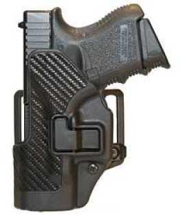 BlackHawk Products Group CQC SERPA Belt Holster Left Hand Black Carbon Fiber Glock 26/27/33 Carbon Fiber Belt Loop and Paddle 410001BK-L