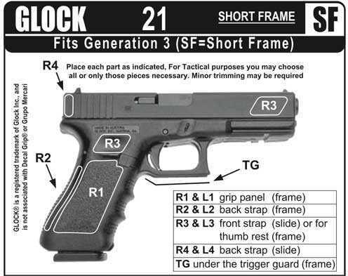 Decal Grip / Grupo Mercari Sand Grip Black Non Finger Grove Glock 21SF G21SFS