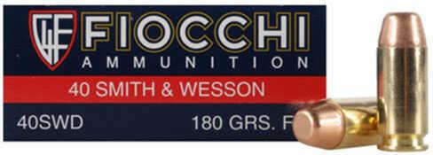 Fiocchi Ammo Fiocchi Ammunition Fiocchi Centerfire Pistol Ammo 40S&W, 180 Grain, Complete Metal Jacket 20 Rounds 40SWDCMJ