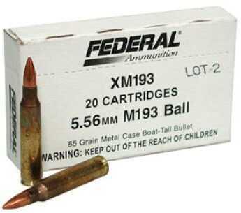 Federal Cartridge Federal XM193, 556NATO, 55 Grain, Full Metal Jacke