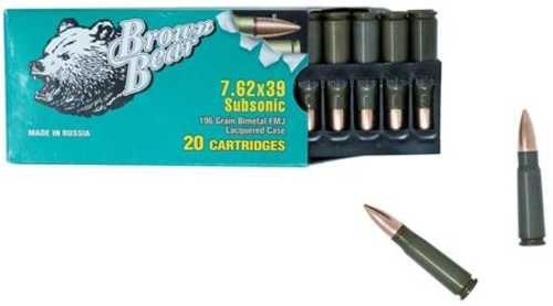 Fime Group Bear 7.62X39mm 196 Grain Bi-Metal Case Full Metal Jacket Subsonic 20 Round Box ASUB762FMJ