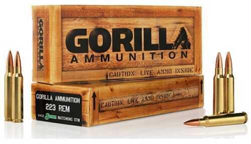 Gorilla Ammunition Company LLC 223 Rem 77Gr Boat tail Hollow Point Sierra MatchKing 20 Rounds Ammunition Gorilla Ammunition GA2237 GA22377SMK