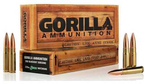 Gorilla Ammunition Company LLC 300 AAC Blackout Ammo 220Gr Boat tail Hollow Point Subsonic 20rds/Box GA300220 GA300220SMKSUB