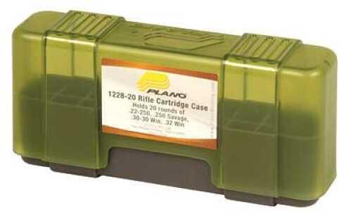 Plano 20 Round Ammo Case Rifle Ammo Case Charcoal/Green Hard .22-250/.250 Sav 6Pk 1228-20
