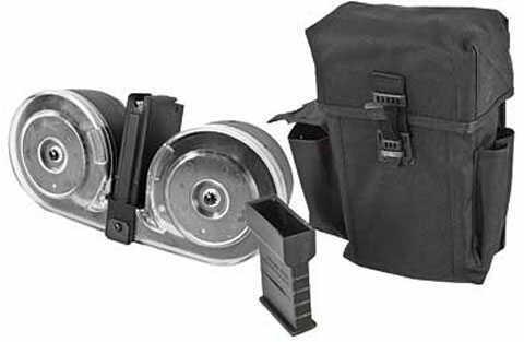 AR-15 100 round Drum Magazine 223 Rem / 5.56 100Rd Black/ Clear Front Nylon Pouch SGM Tactical SGMTAR15DC