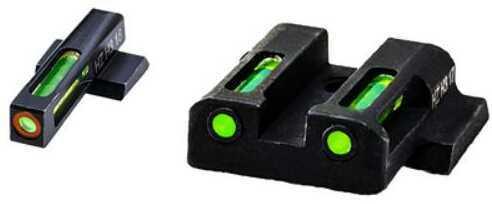 Hi-Viz LiteWave H3 Tritium/Litepipe Night Sights M&P Shield 9MM 40S&W and 45 Calibers Green Front w/Orange Front Ring Gr
