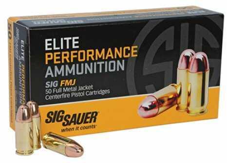 Sig Sauer Elite Ball, 38 Super +P 125 Grain Full Metal Jacket Ammunition, 50 Rounds Per Box