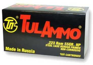 TulAmmo USA Steel Case 223 REM 55 Grain Hollow Point 100 Round Box TA223101