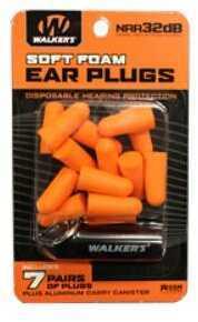 Walker's Game Ear Ear Plug Foam 7 Pairs Orange Includes Case GWP-PLGCAN-OR