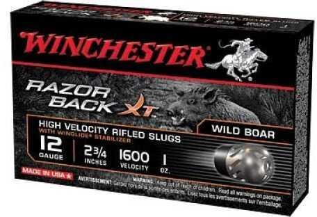 "Winchester Razorback XT 12Ga 2.75"" 1 oz Slug 5 rounds Ammunition S12RBSS"