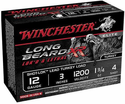 "Winchester Ammunition Long Beard XR 12 Gauge 3"" Chamber #5 1.75 oz Shotshell Shot-Lok with Plated Lead Shot 10 Round Box"