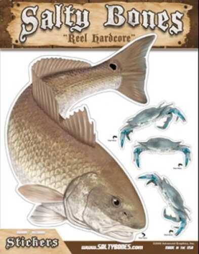 Salty Bones / Advanced Graphics Salty Bones /Advanced Graphics Salty Bones Mega Decal 12in X 14in Redfish W/Bait Md#: BMEGA4003SB
