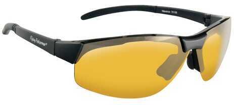 Flying Fisherman Fly Fish Maverick Sunglasses Mt Black/Yellow Amber MN# 7812BY