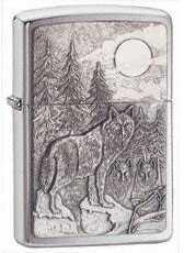 Zippo Timberwolves Emblem Lighter Brushed Chrome 20855