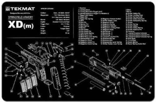 "Beck Tek, LLC Springfield XDM Pistol Mat, 11""x17"", Black Finish 17-XDM"