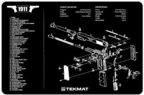 "Beck Tek, LLC 1911 Pistol Mat, 11""x17"", Black Finish 17-1911"