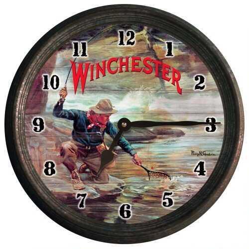 Rockin' W Brand Rockin W Brand Winchester Fisherman By Stream Wall Clock