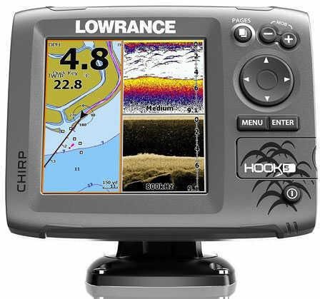 Lowrance Hook-5 Mid/High/Downscan Fishfinder - Chartplotter