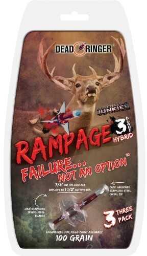 Dead Ringer Rampage Broadheads 100gr 3-Blade 1.5in. Cut 3pk DR4705