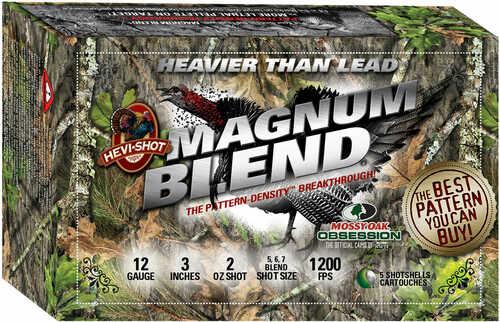 """Hevishot 40255 Magnum Blend 12 Gauge 3"""" 2 Oz 5,6,7 Shot 5 Box"""