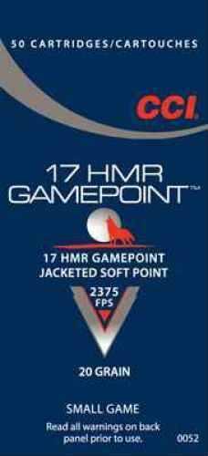 CCI/Speer Gamepoint 17HMR 20 Grain Jacketed Soft Point 50 Round Box 52