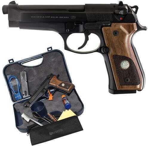 "Pistol Beretta 92FS Trident SA/DA 9mm Luger 4.9"" Barrel 10 Round Wood Grips withMedallion Black Finish SPEC0579A"