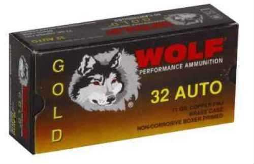 Wolf Performance Ammo Gold 32 ACP 71 Grain Full Metal Copper Jacket Ammunition Md: G32FMJ1