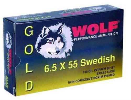 Wolf Performance Ammo Wolf Gold 6.5X55MM Swedish 139 Grain Full Metal Copper Jacket Ammunition Md: G65SFMJ1
