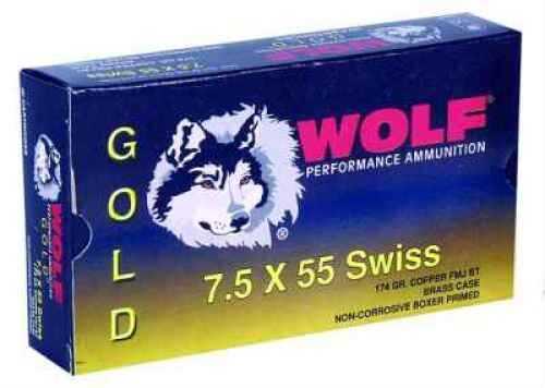 Wolf Performance Ammo Wolf 7.5X55 Swiss 174 Grain Full Metal Jacket Ammunition Md: G75SFMJ1