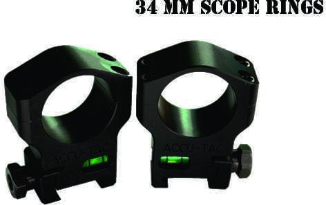 Accu-Tac 34MM Scope Rings Flat Black Model HSR-340