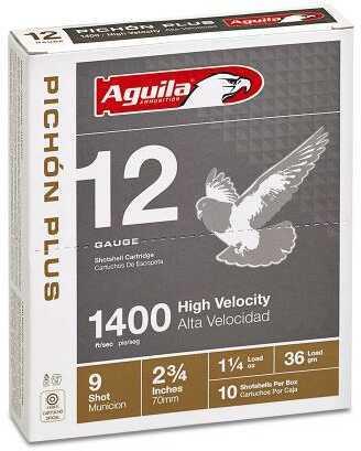 Aguila Pichón Plus 1400 12 Gauge 2.75 Inch 1.25 Ounce 4-1/8 Dram #8 Lead Shot Shotshells, 250 Per Case