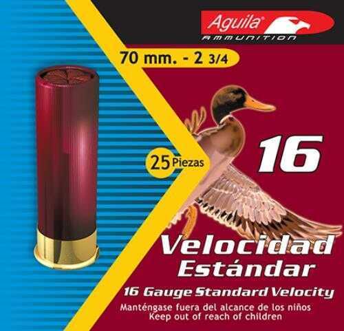 Aguila Standard Velocity 16 Gauge 2.75 Inch 1 Ounce 2-5/8 Dram #4 Lead Shotshells, 250 Per Case