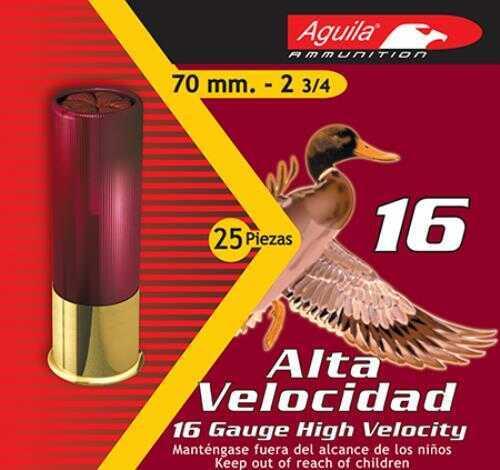 Aguila High Velocity 16 Gauge 2.75 Inch 1-1/8 Ounce 3 Dram #6 Lead Shotshells, 250 Per Case
