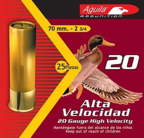 Aguila High Velocity 20 Gauge 2.75 Inch 1 Ounce 2.75 Dram #7.5 Lead Shotshells, 250 Per Case