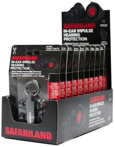Safariland Ear Plug Display Black NRR 33 Key Chain Storage Case 10/Pack TCI-10CT-IMPULSE-DSPLY