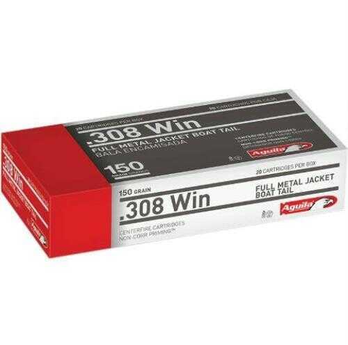 Aguila Ammunition 308 Win 150 Grain Full Metal Jacket Boat Tail 20 Round Box 1E308110