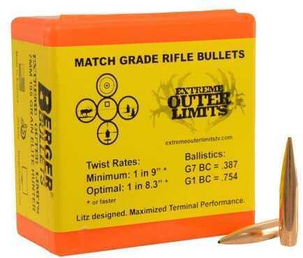 Berger Bullets Berger 7mm 195 Grain Hybrid Elite Hunting Hollow Point Boat Tail Reloading Bullets, 100 Per Box Md: