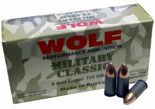 Wolf Performance Ammo Wolf 9MM X 18MM Makarov Military Classic 95 Grain Bi Metal Full Metal Jacket Ammunition Md: Mc918FMJ