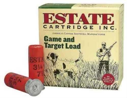 """Estate Cartridge Estate Game/Target Load 12 Ga. 2 3/4"""" 1 oz #8 Lead Shot 25 Rounds Per Box Ammunition Md: GTL128 Case GTL128"""