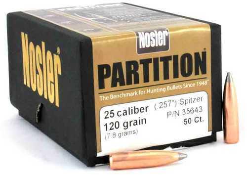 Nosler 25 Caliber 120 Gr Spitzer Partition (Per 50) 35643