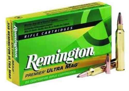Remington 338 Ultra Magnum 250 Grain A-Frame Pointed Soft Point Ammunition 20 Rounds Per Box Md: PR338UM1 PR338UM1