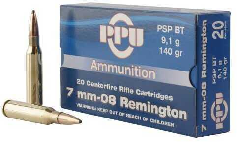Prvi Partizan 7mm-08 Remington 140 Grain Pointed Soft Point Boat Tail 20 Box Ammunition