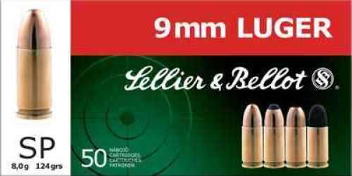Sellier & Bellot 9mm 124gr Soft Point Sellier&Bellot Pistol Ammo Ammunition V310592U