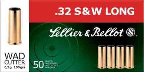Sellier & Bellot Pistol 32 S&W Long 100 Grain Wadcutter 50 rounds Ammunition Sb32SWLB