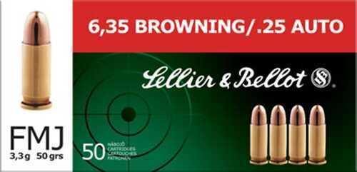 Sellier & Bellot Pistol 25 ACP 50 Grain Full Metal Jacket 50 Round Box SB25A