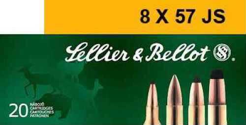 Sellier & Bellot Rifle 8MM Mauser 196 Grain Soft Point Cut-Through Edge 20 Round Box SB857JSB