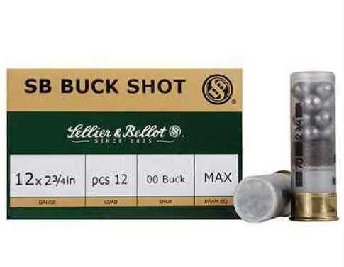 "Sellier & Bellot 12 ga. 2.75"" #1 Buck 12 Pellet 25Bx/10Cs V212762U"