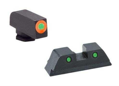 Ameriglo Gl450 Spartan Operator Night Sights Glock 42/43 Steel Green W/orange Outline Blk