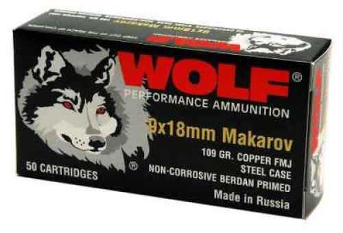 Wolf Performance Ammo 9 MM X 18 MM Makarov 95 Grain Full Metal Copper Jacket Ammunition