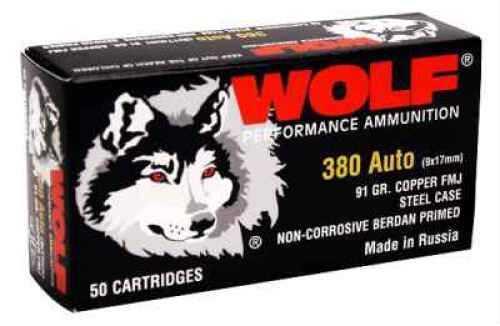 Wolf Performance Ammo Wolf Gold 380 ACP 91 Grain Full Metal Copper Jacket Ammunition Md: 917FMJ